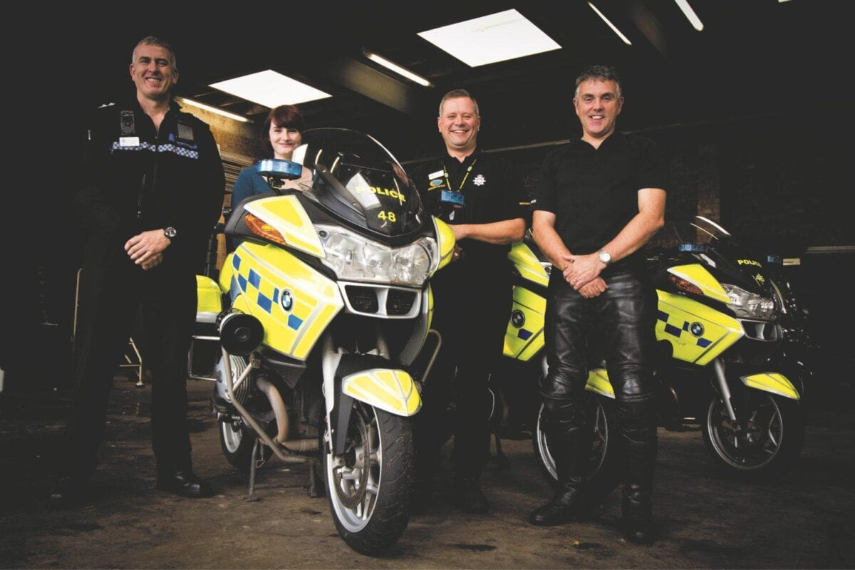 Motor Cycle Monthly's Carli Ann Smith with (from left) Inspector Mark Rogers; PC Simon Burgin and Sergeant Chris Clare