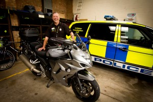 PC Simon Burgin with his own bike, which he regularly takes touring to the Nürburgring.