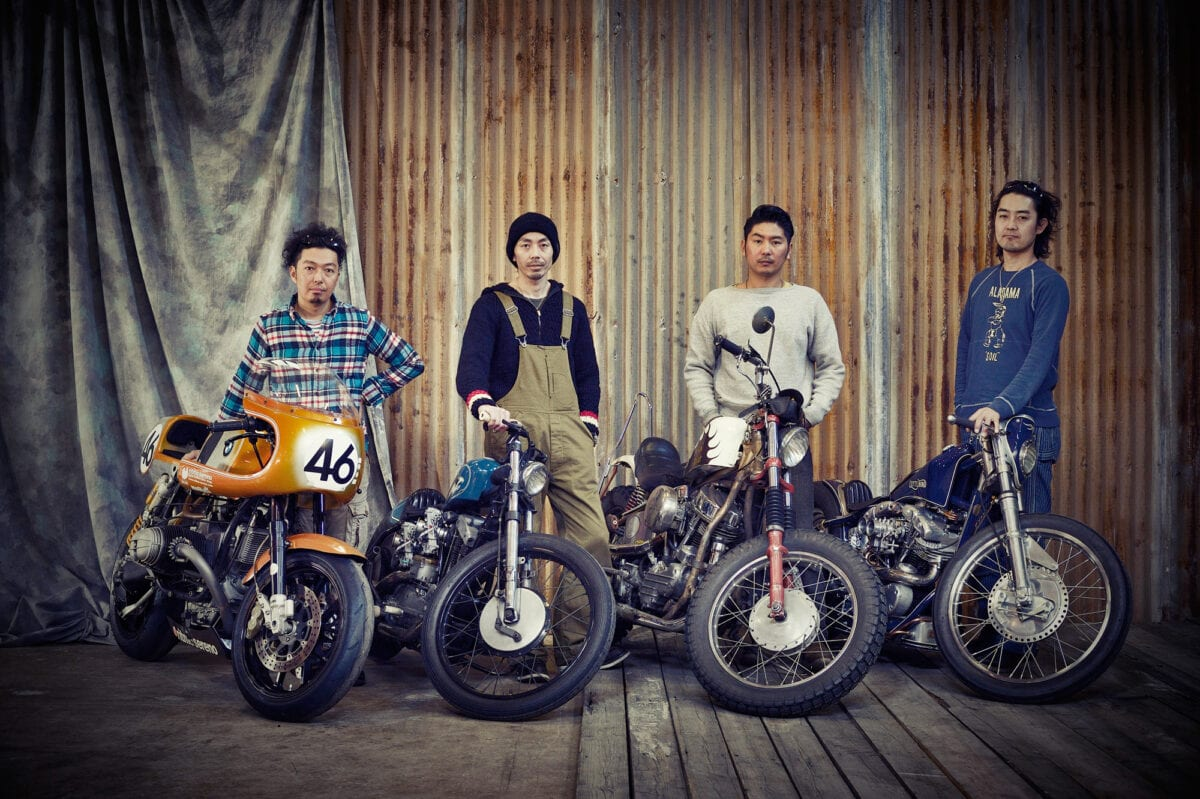 The four builders with their previous bikes