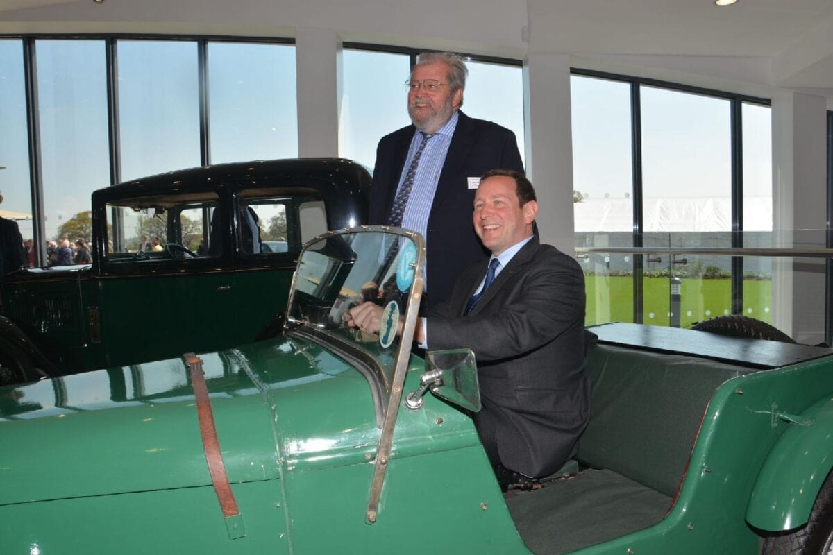 Ed Vaizey in green Austin Special with John H  Haynes OBE