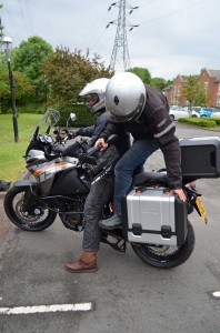 Cameraman prepares for a day in the 1190 Adventure saddle