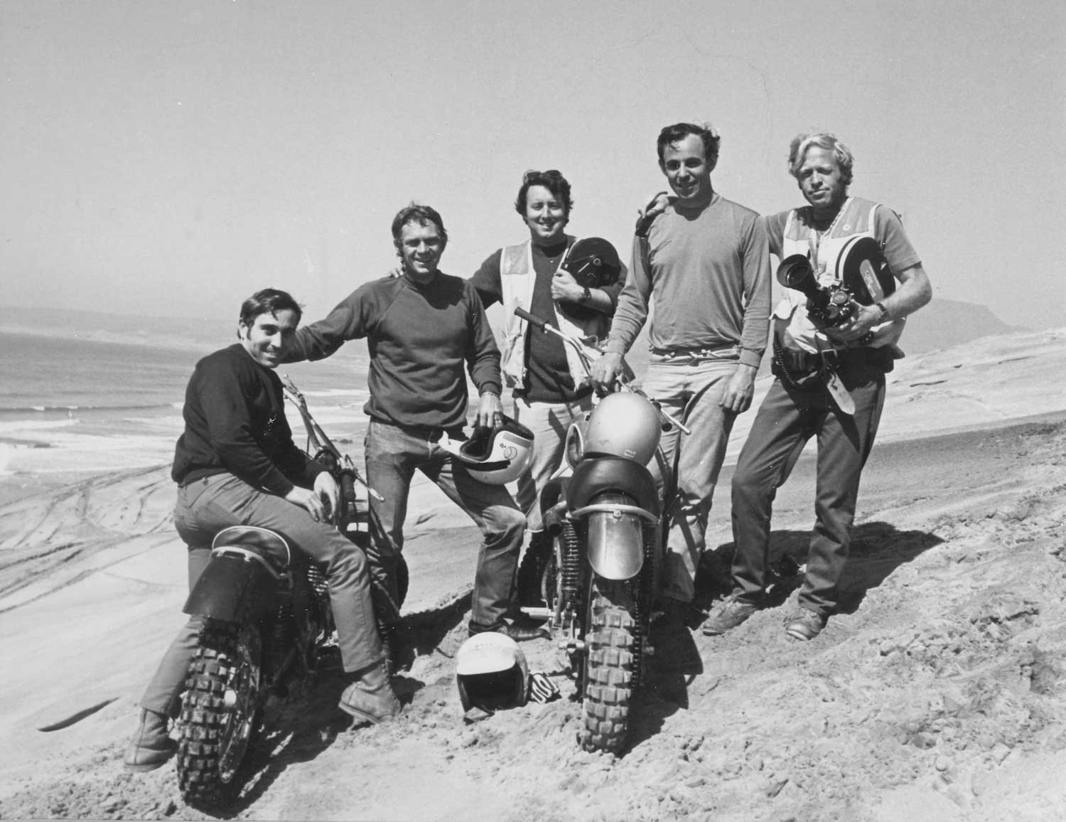 With On Any Sunday colleagues, from left Mert Lawwill, Steve McQueen, Bog Bagley, Malcolm Smith and Bruce Brown. Courtesy Bruce Brown Films LLC.