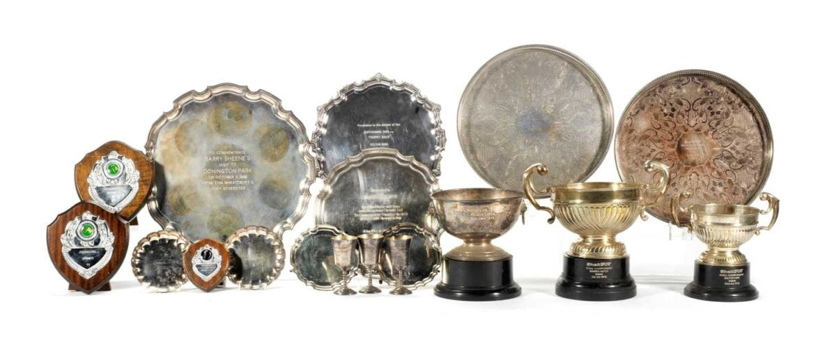 A-selection-of-Barry-Sheene's-British-race-trophies-and-awards