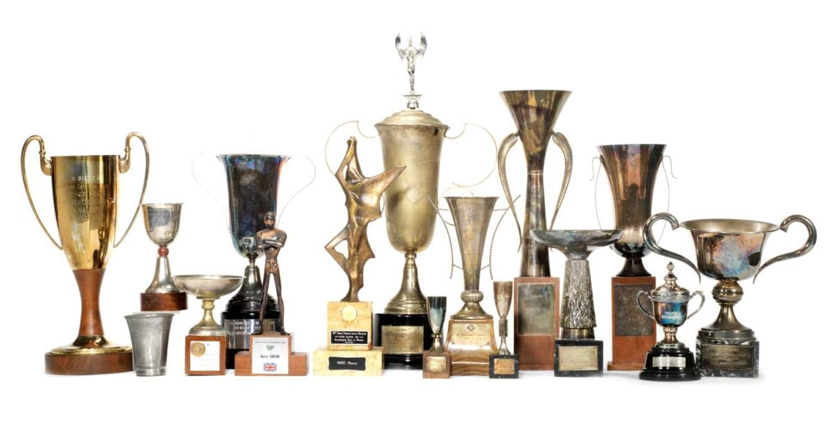 A-selection-of-Barry-Sheene's-European-race-trophies-and-awards