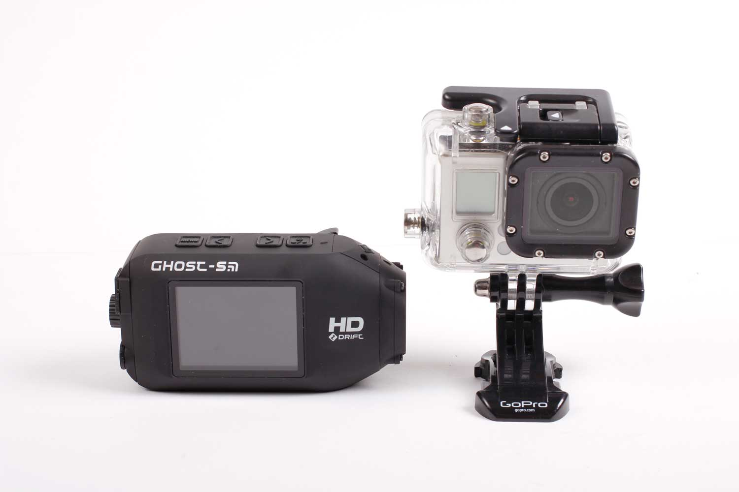 Once in its case, the GoPro is slightly heavier than the Drift