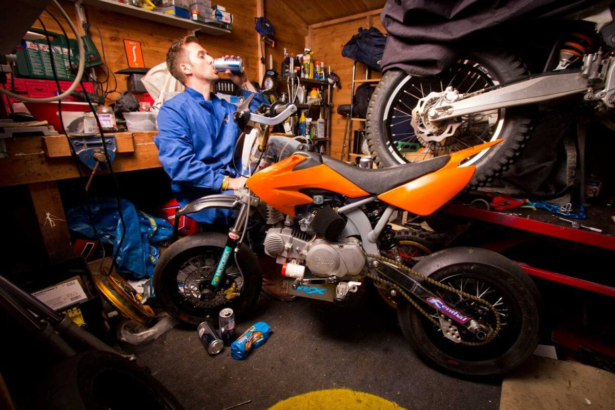 Racer Luke Brackenbury built his own pit bike, between lagers and Hobnobs
