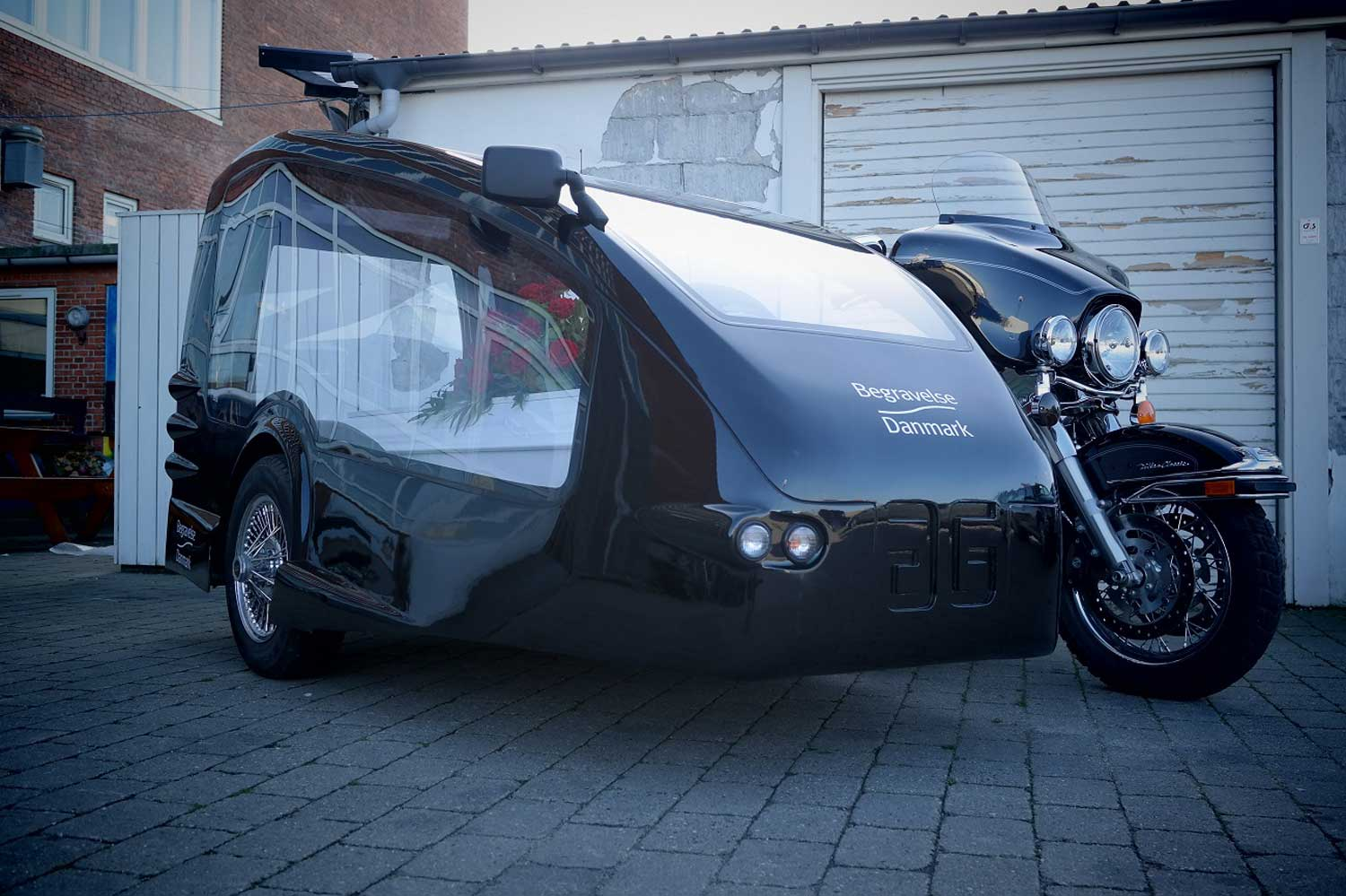 Motorcycle hearse funeral