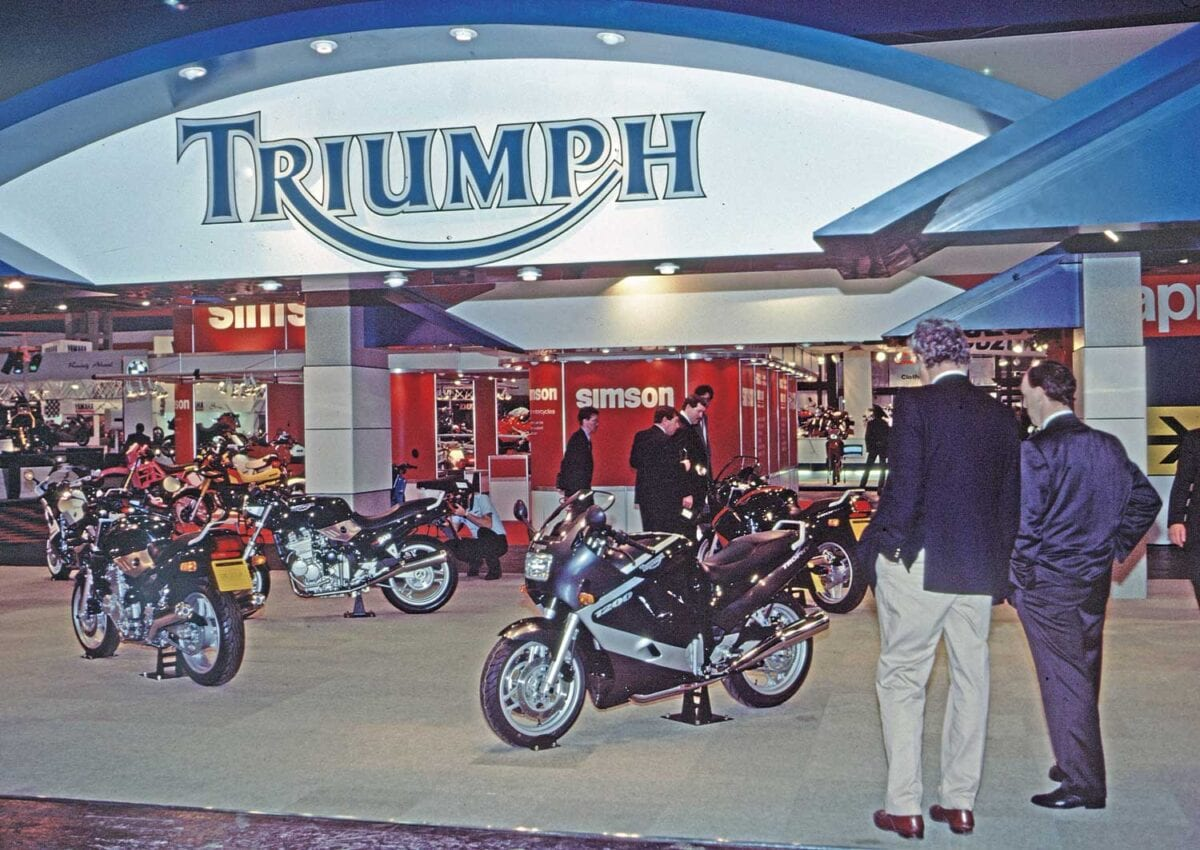 Triumph's stand at Cologne in 1990 marked a key return. Photo: Don Morley