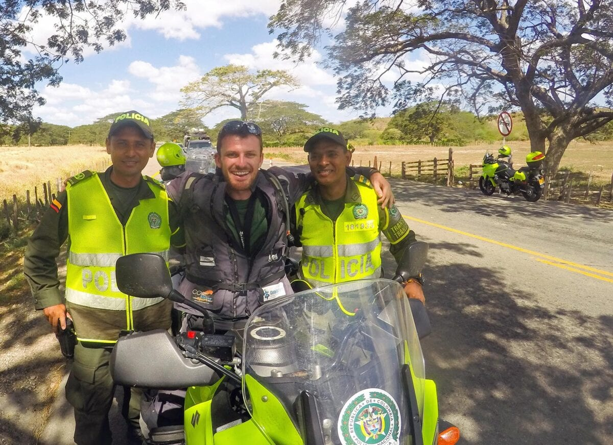 Rhys with the Columbian police