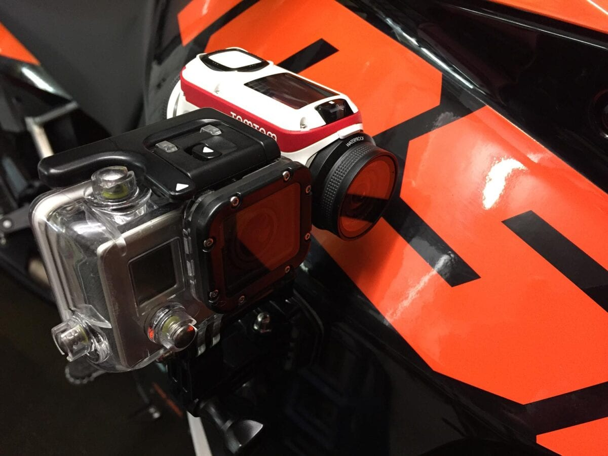 A GoPro Hero 3 mounted next to the TomTom Bandit for our comparison video