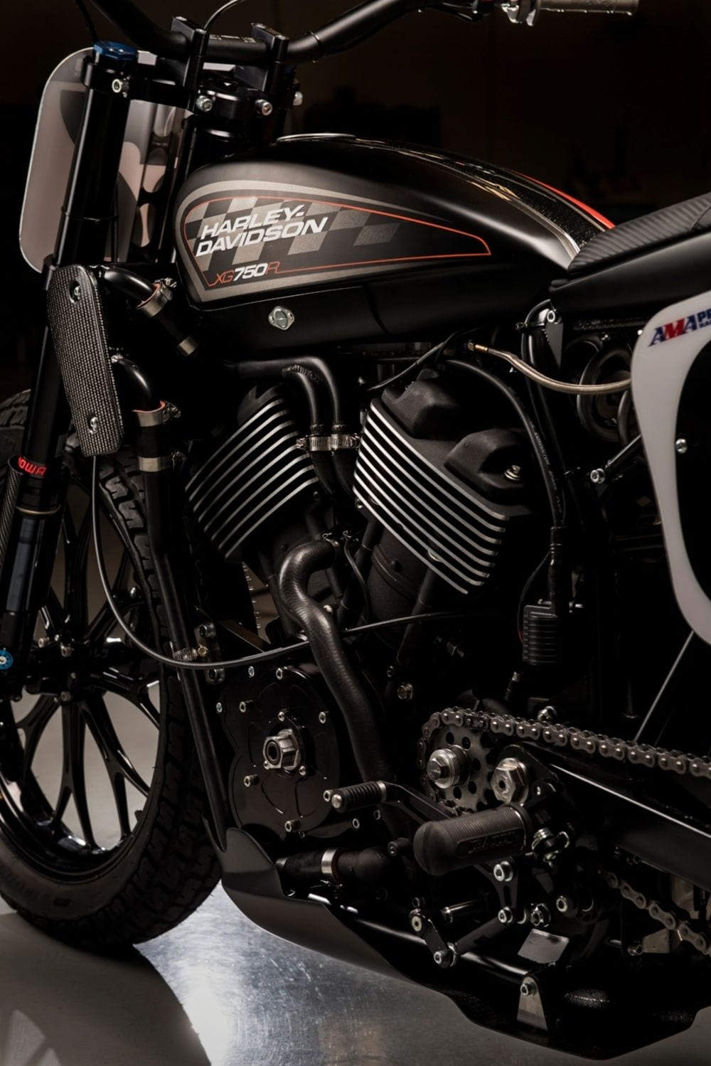 Photos of the new Harley Davidson 750 Flat track bike at Vince and Hines in Indianapolis Indiana on April 27th 2016.