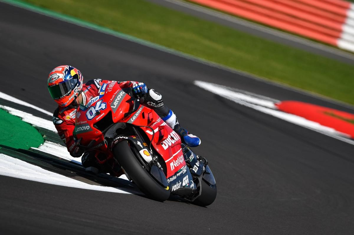 Here's Andrea Dovizioso out on the current 2020 Ducati MotoGP race machine.