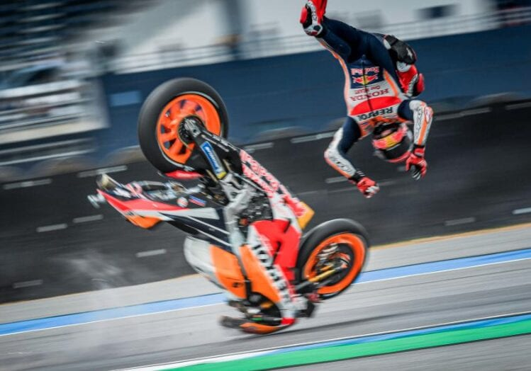 Marc Marquez' right shoulder has been mashed by a series of huge crashes in MotoGP.