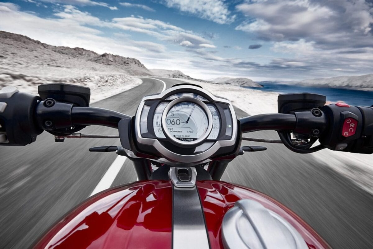 There's GoPro connectivity software built in to the TFT dash on the 2020 Triumph Rocket 3 motorcycle.