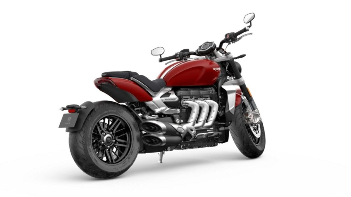 And this is the 2020 Triumph Rocket 3 motorbike in Korosi Red.