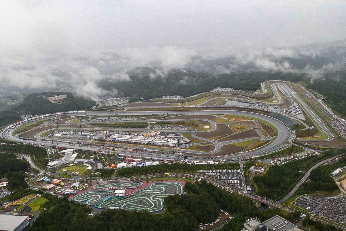 The motorcycle MotoGP racetrack Motegi in Japan. Motorbike racing happens here as part of the MotoGP series