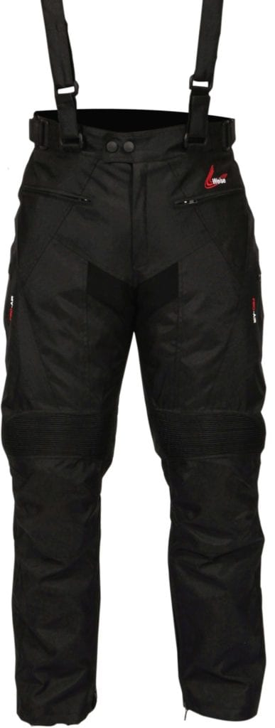 Front view of the Weise Marin motorcycle winter trousers.