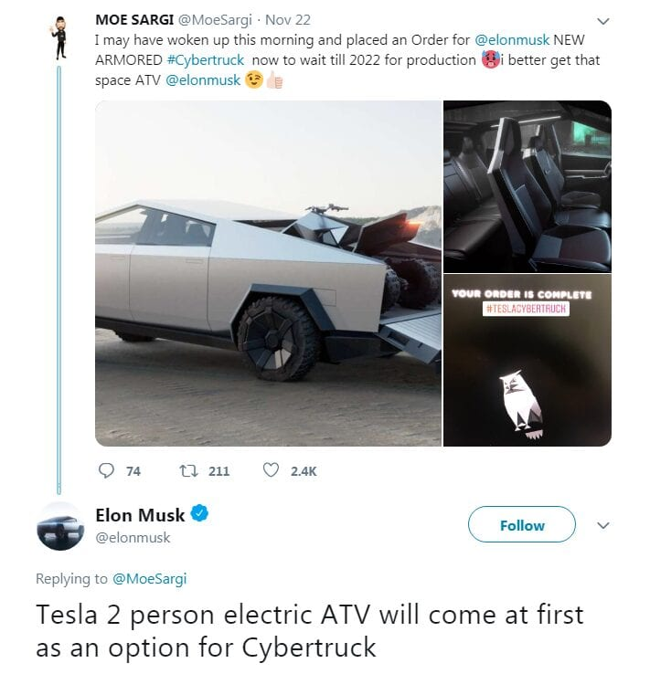 It's confirmed. The Cyberquad will be available as an option to those who buy the Cybertruck. Note the 'at first' part of this post from Musk too, sounds like it might also be a buy-alone product in the future - donchathink?