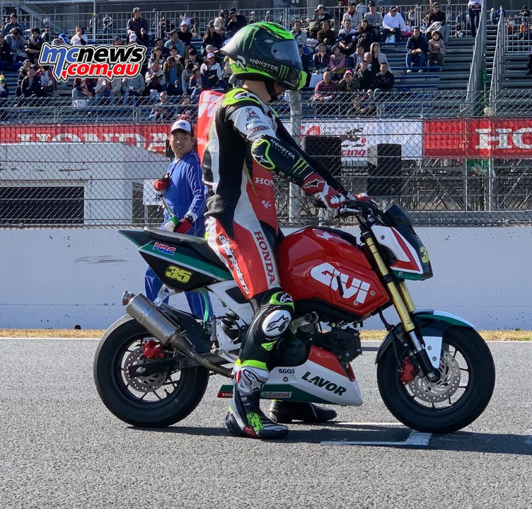 That's Cal Crutchlow on a Honda Grom. Little bike, big rider. How trick does this look? MotoGP, here's you're Sunday evening race at every 2020 event - right here...