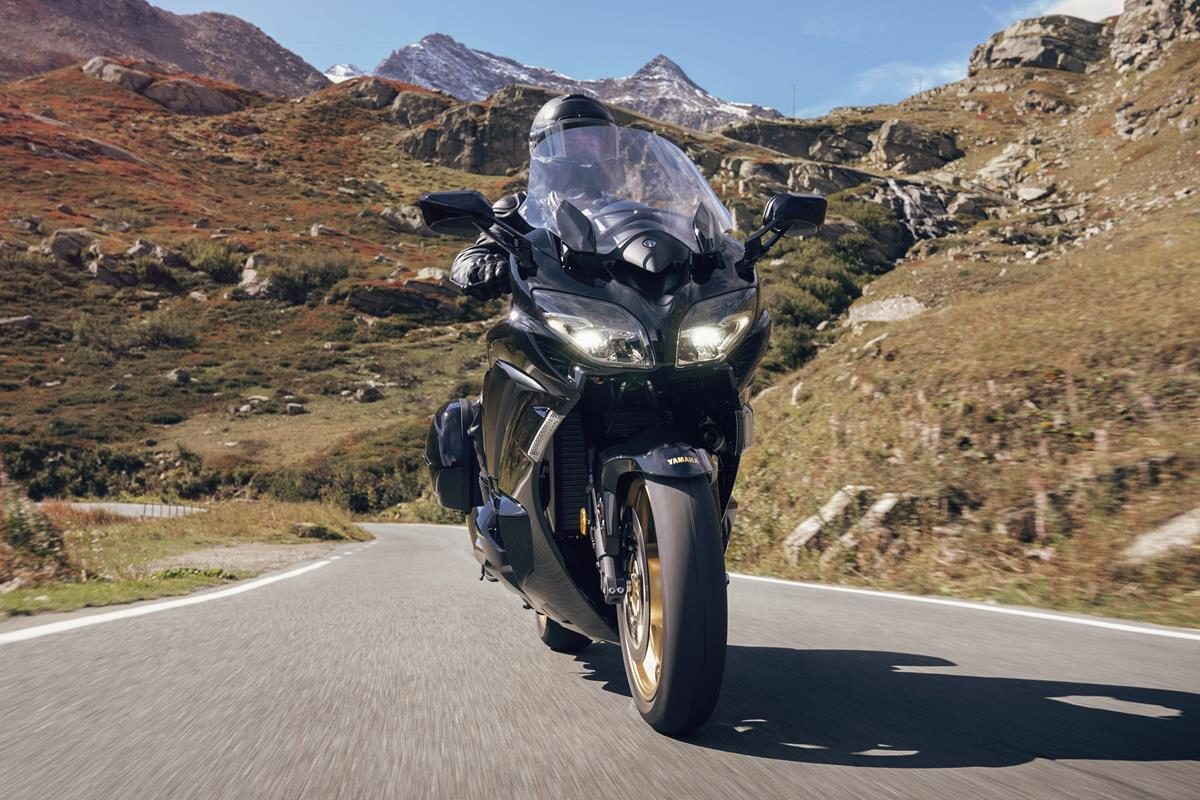 Riding shot of the new FJR1300 Ultimate Edition sport tourer bike from Yamaha.