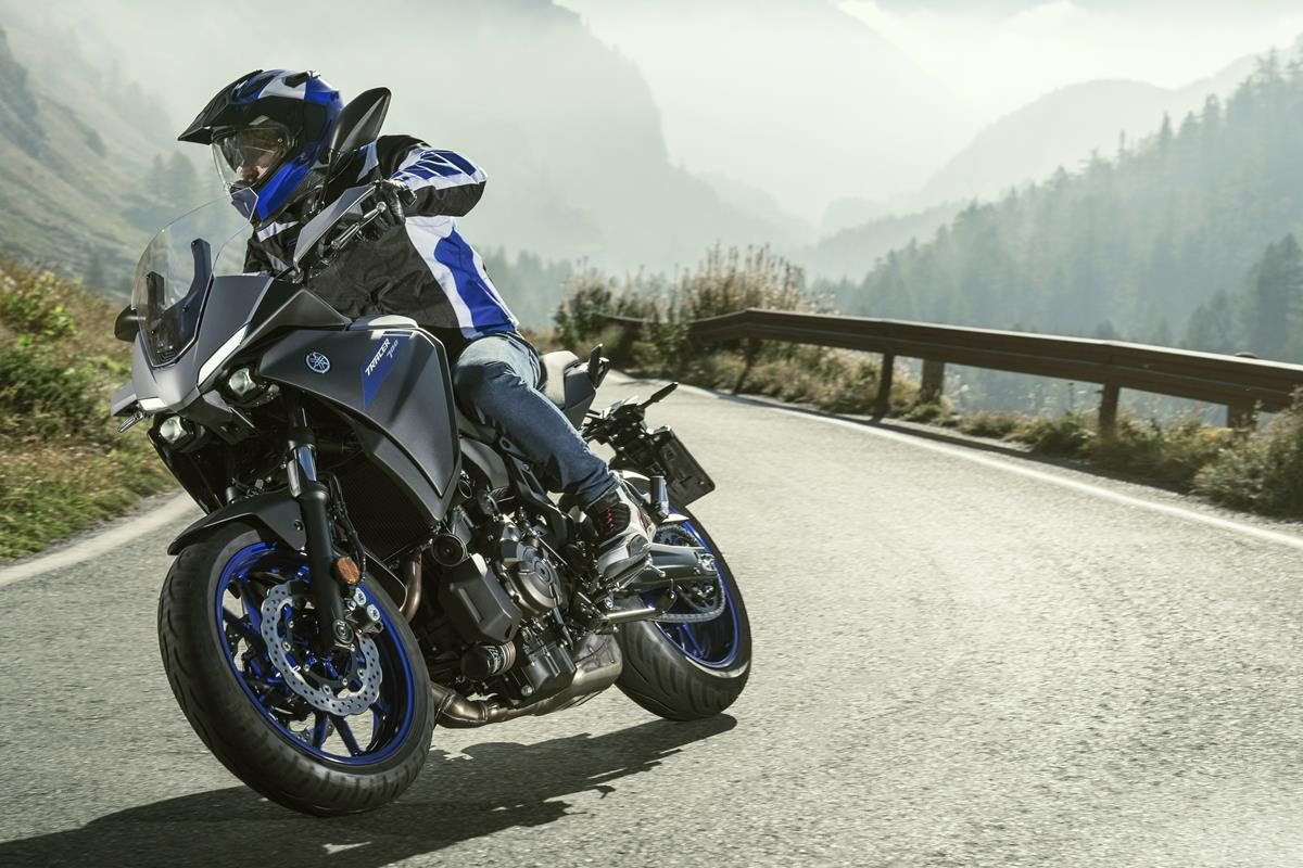 Yamaha's new Tracer 700. Riding shot of the Japanese factories latest mini- sport tourer motorcycle.