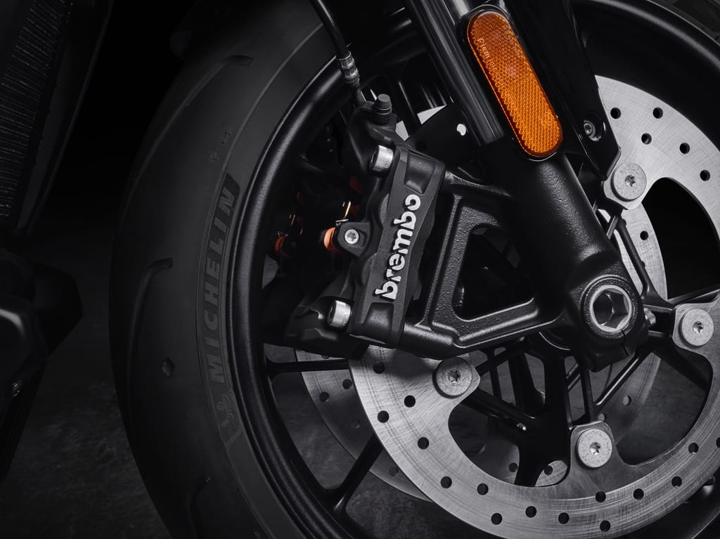 A newly-developed caliper from Brembo just for the two new motorcycles from Harley-Davidson.