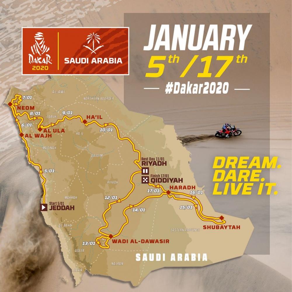 Route breakdown for the 2020 Dakar Rally in Saudi Arabia