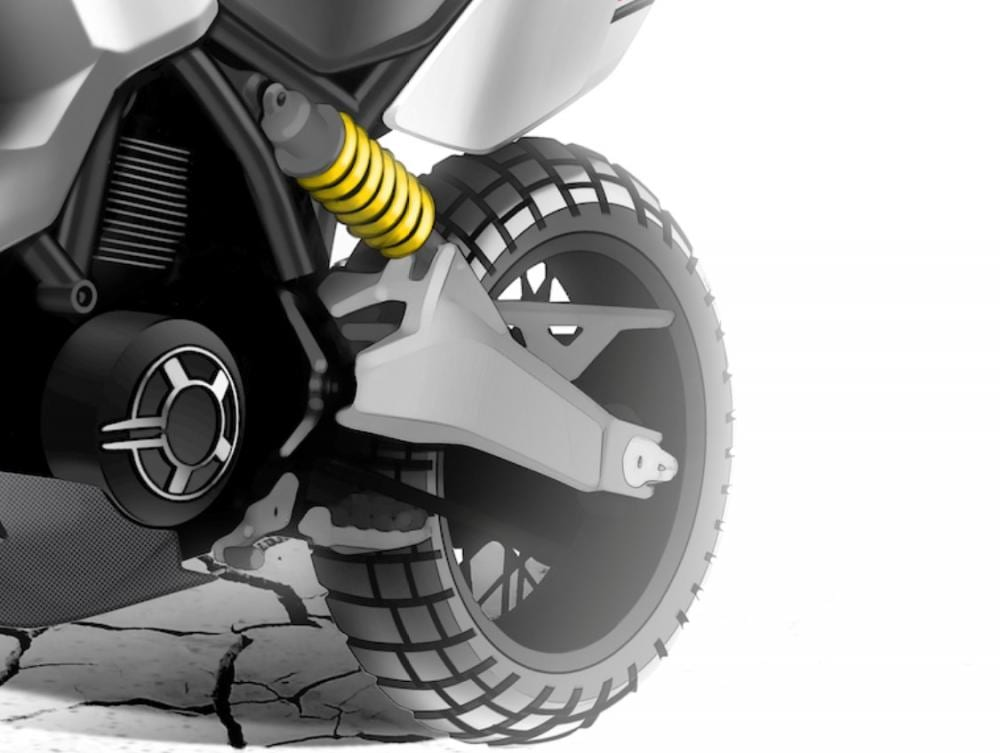Current Scrambler rear shock and swingarm set-up look likely to be used.