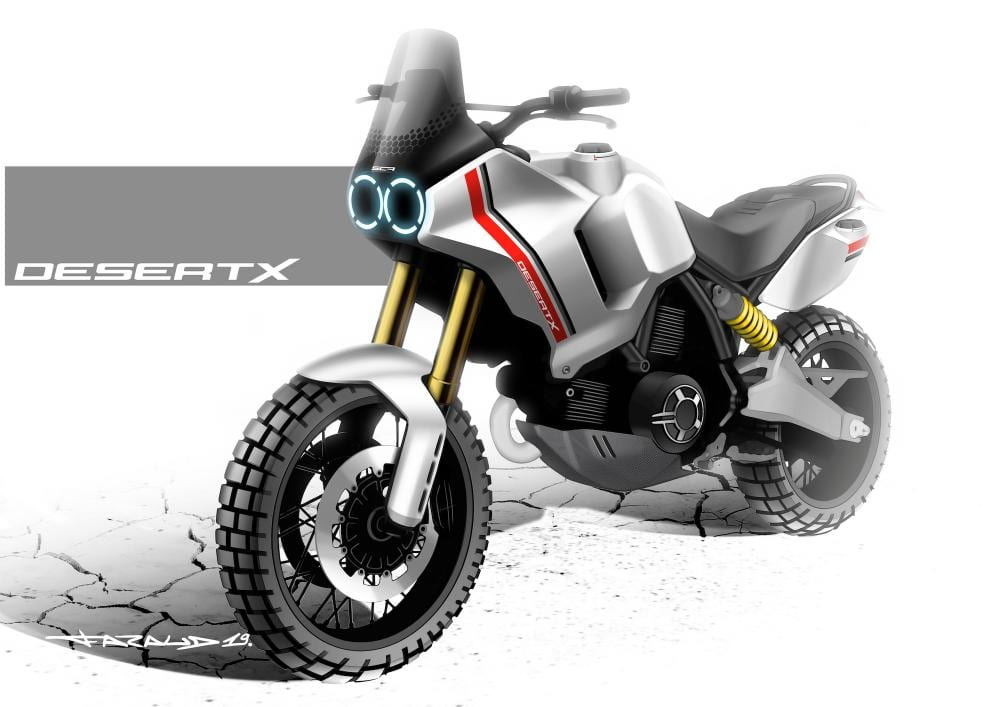 This is the new Desert X illustration from Ducati.  A nice and chunky motorcycle, eh?