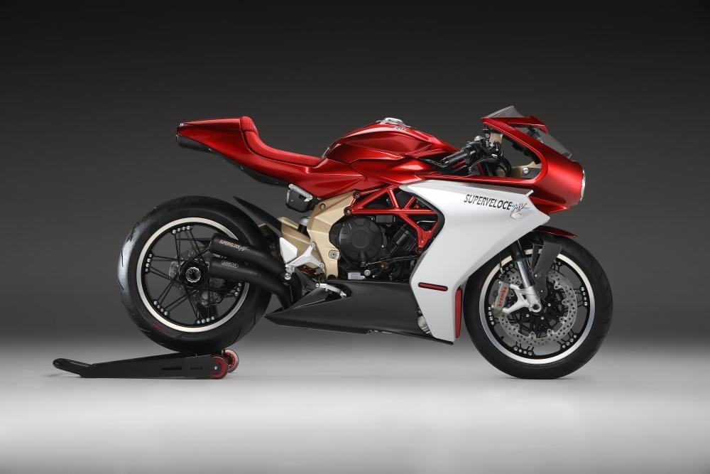 This is the 2020 MV Agusta Superveloce 800 Serie Oro motorbike. Nice gold coloured parts.