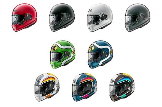 Range of colours for Arai's new Rapide lid