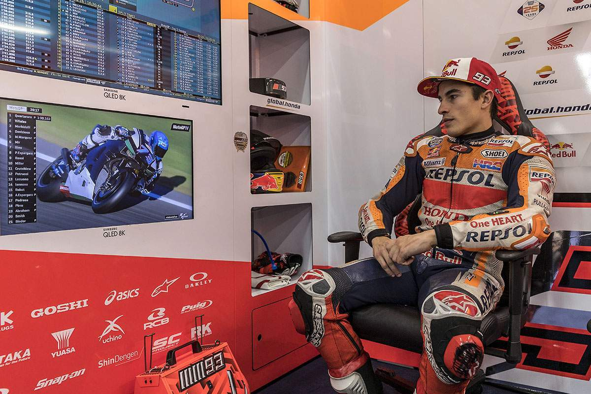 Marc Marquez might fins himself sitting by and watching the first two rounds of the year instead of racing in them. He'll probably not be doing that in his leathers, though...