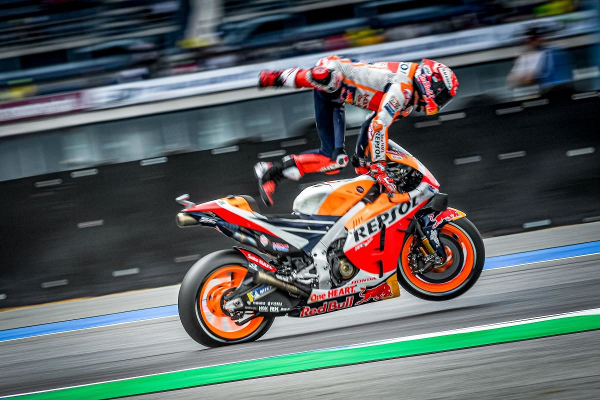 Marc Marquez during his crash during qualifying at the Sepang GP.