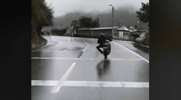 Wet weather racing lines. Here's how not to do it.