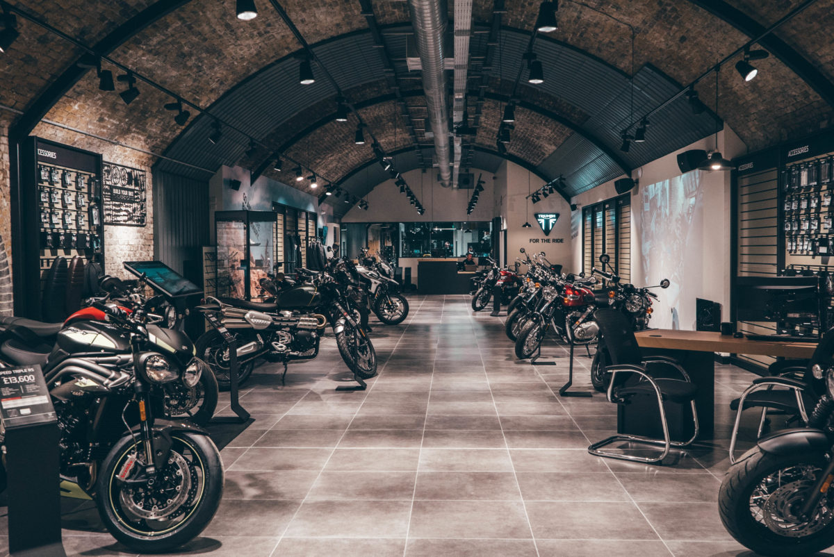 Nice and fresh but still using the old railway arches,  the new London dealership will appeal to a lot of the Capital's riders.