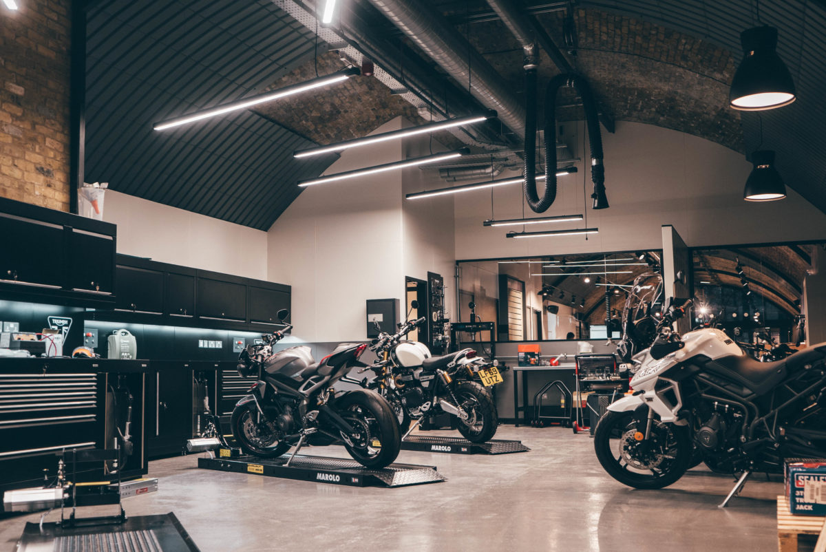 The dealership has an open workshop area where you can watch your motorcycle being worked on, if you want to.