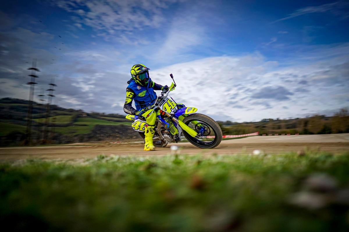 Valentino Rossi in action at his ranch in Italy.