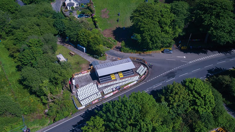 An ariel view of Hillberry on the Isle of Man TT Mountain Course. You can now buy tickets for this iconic location.