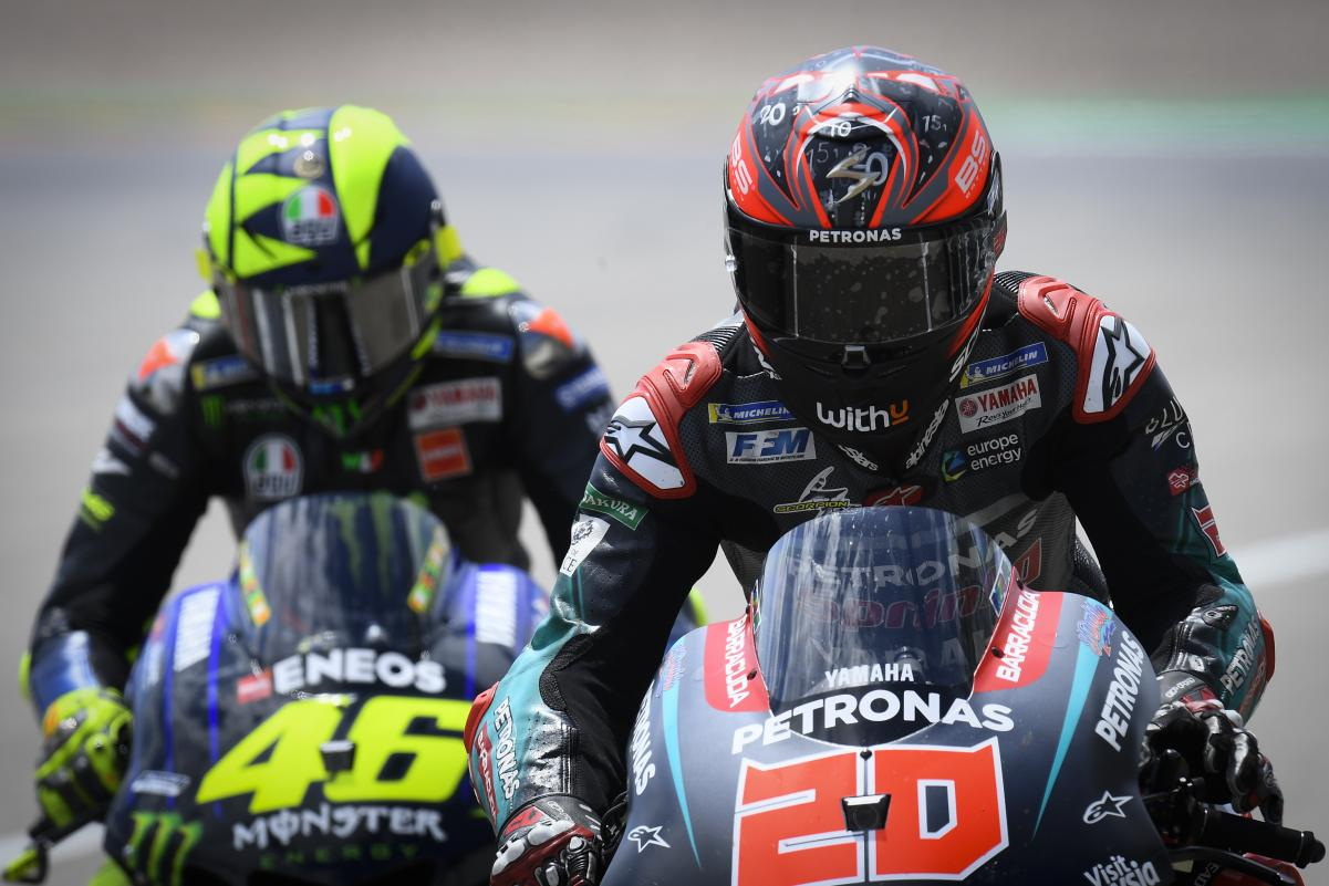 Rossi (#46) has been replaced in the 2021 Factory Yamaha Petronas squad by upcoming youngster Fabio Quartararo (#20)
