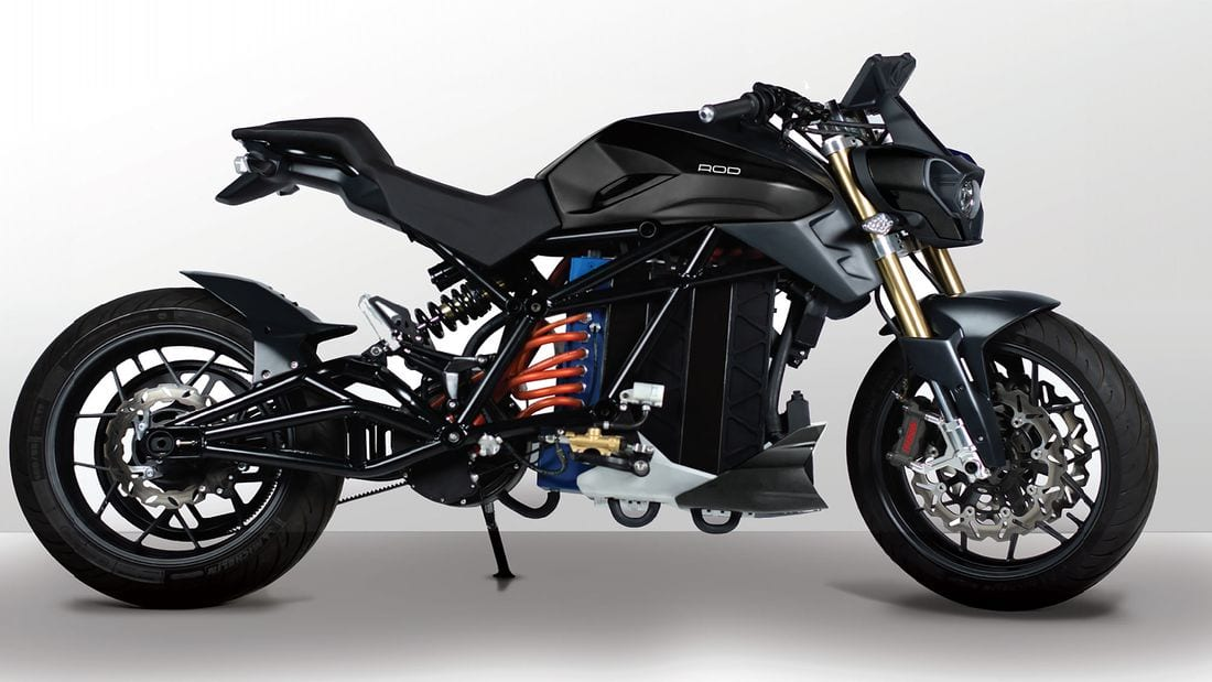 Voltu's naked ELECTRIC motorcycle: the Rod 1. 250Nm. 150hp. 155mph.