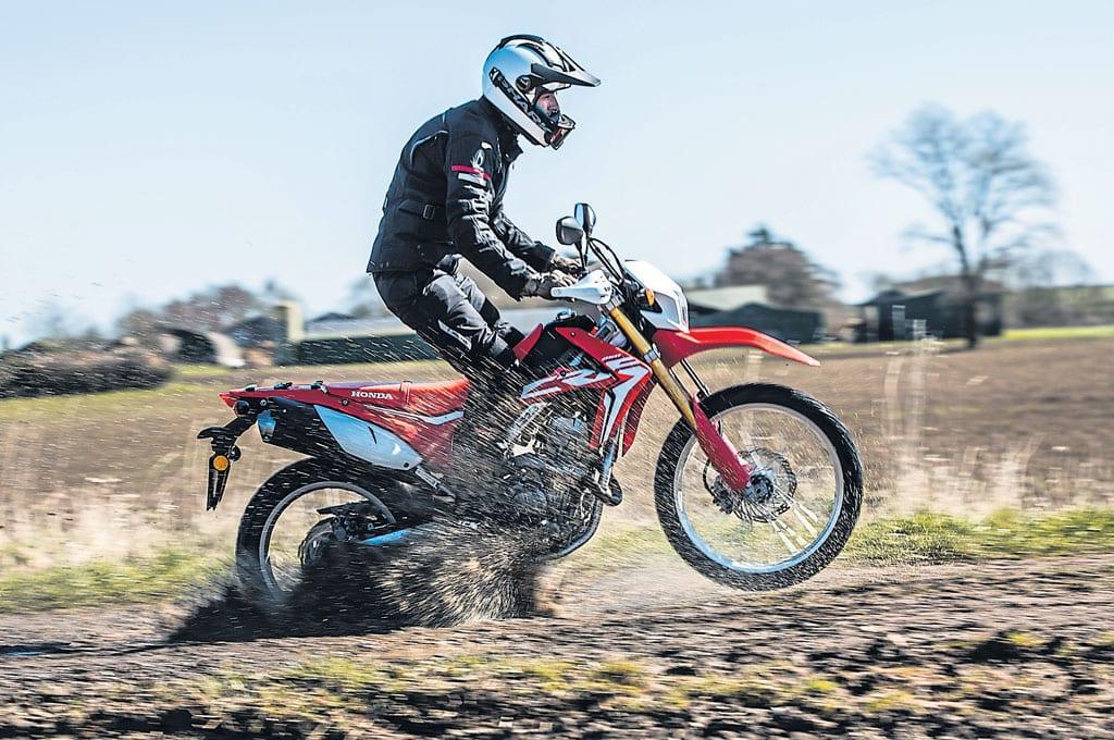 A motorcyclist riding off-raod.