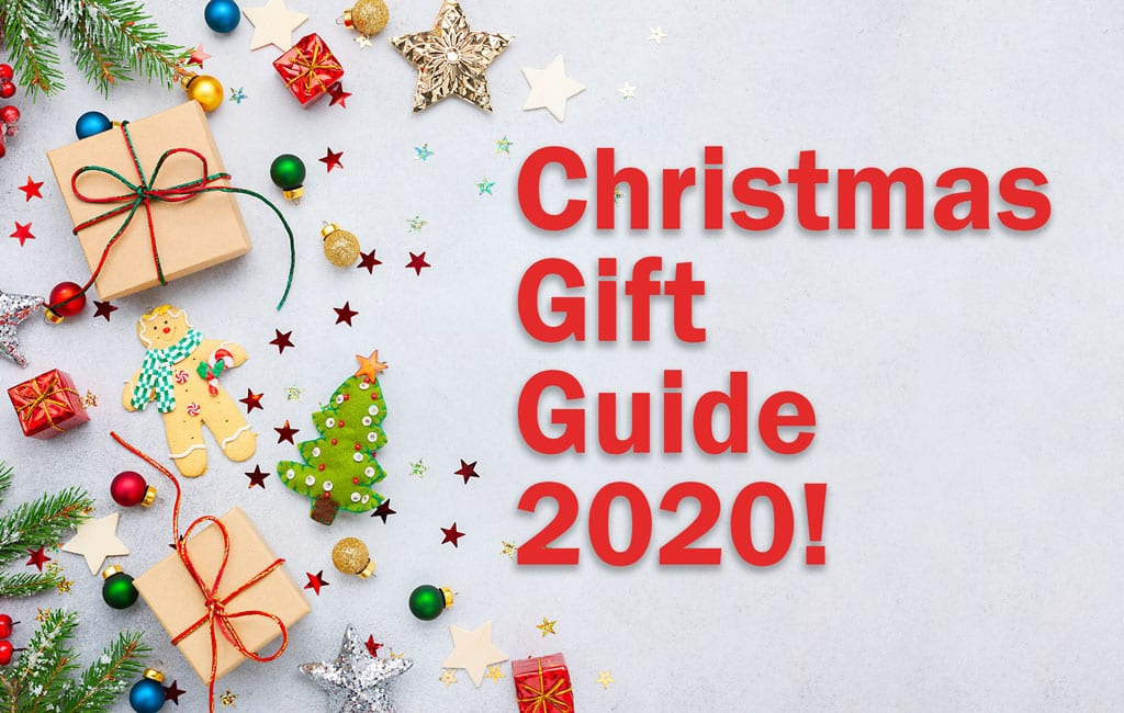 """Featured image with a festive background. Text says, """"Christmas Gift Guide 2020!""""."""