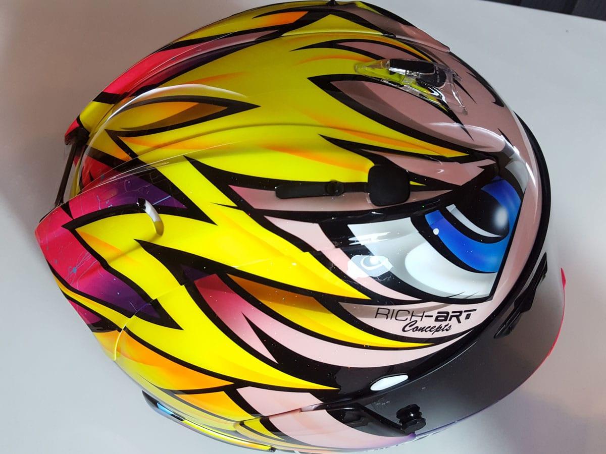 Richard's eye-catching design for Josh Brookes' lid