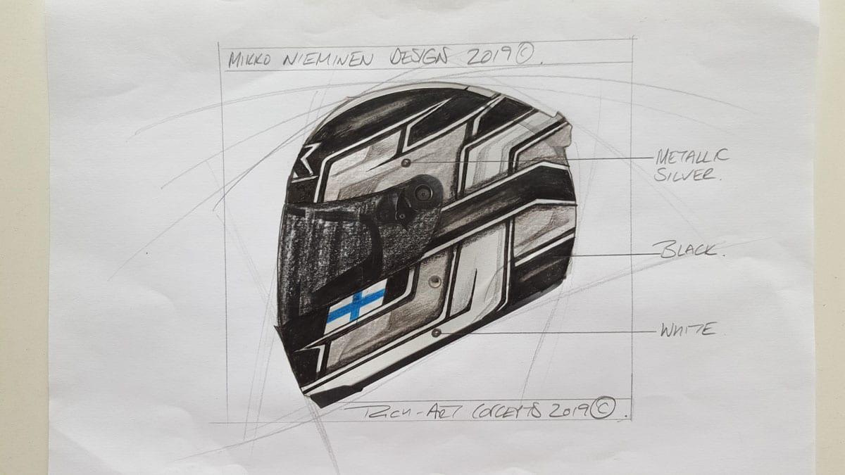 This was where Richard started Mikko's helmet design