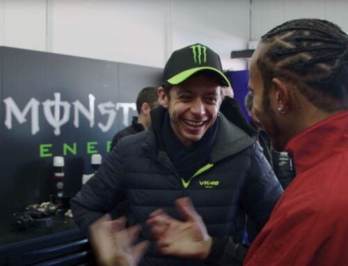 Lewis Hamilton and Valentino Rossi swap machines for one day