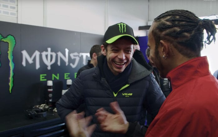 In a video released by Monster Energy, check out seven-time Formula One World Champion Lewis Hamilton and nine-time Motorcycle World Champion Valentino Rossi as they swap machines.